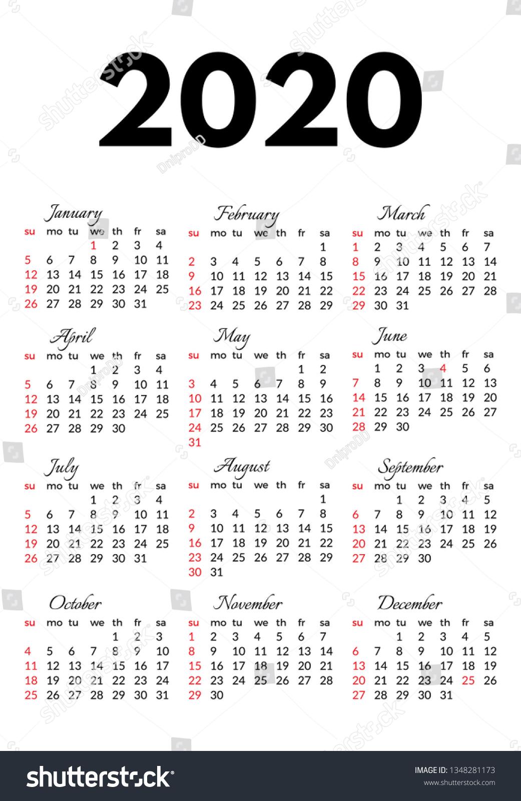 Calendar 2020 Isolated On White Background Stock Vector