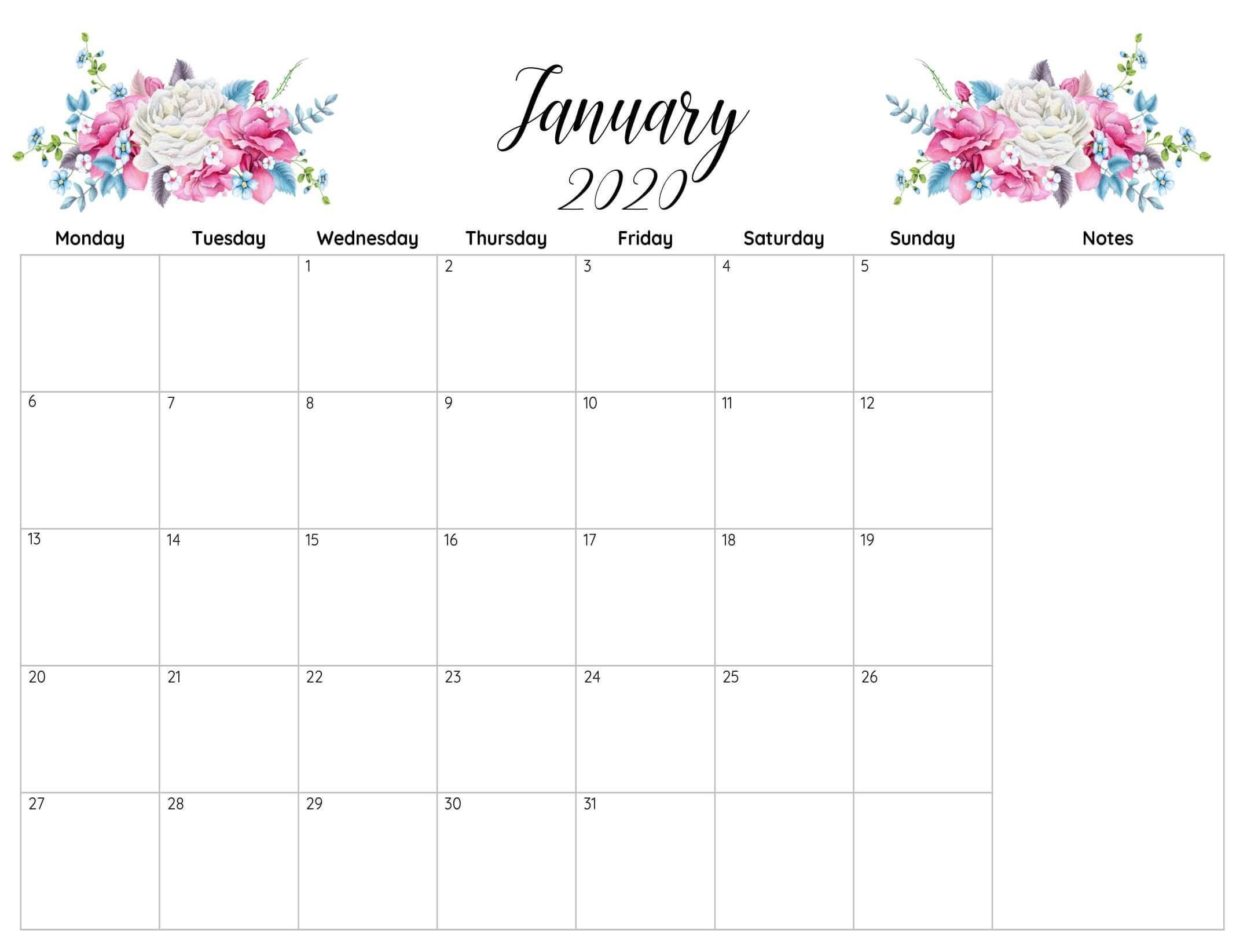 Calendar 2020 January Printable Template - 2019 Calendars