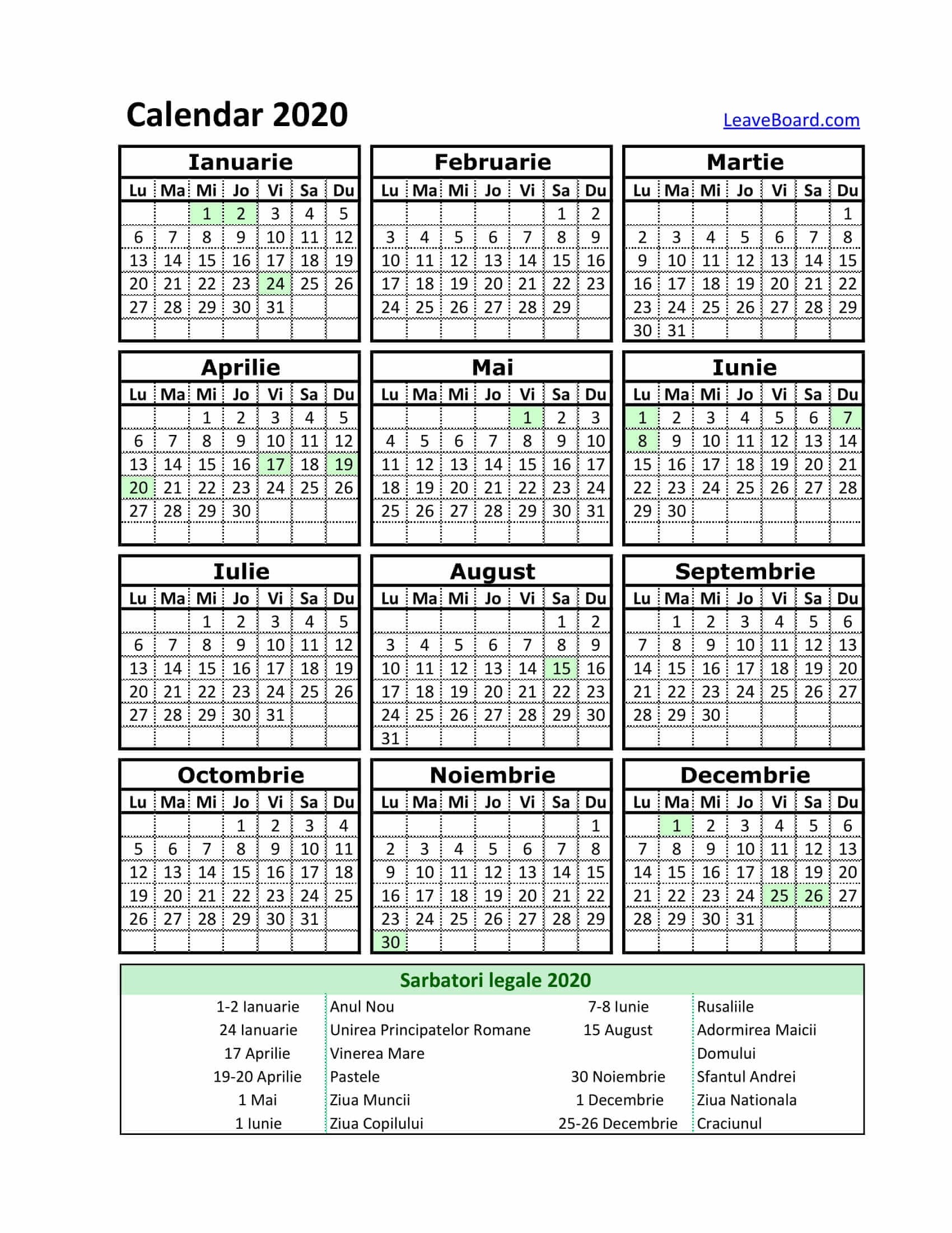 Calendar 2020 | Leaveboard