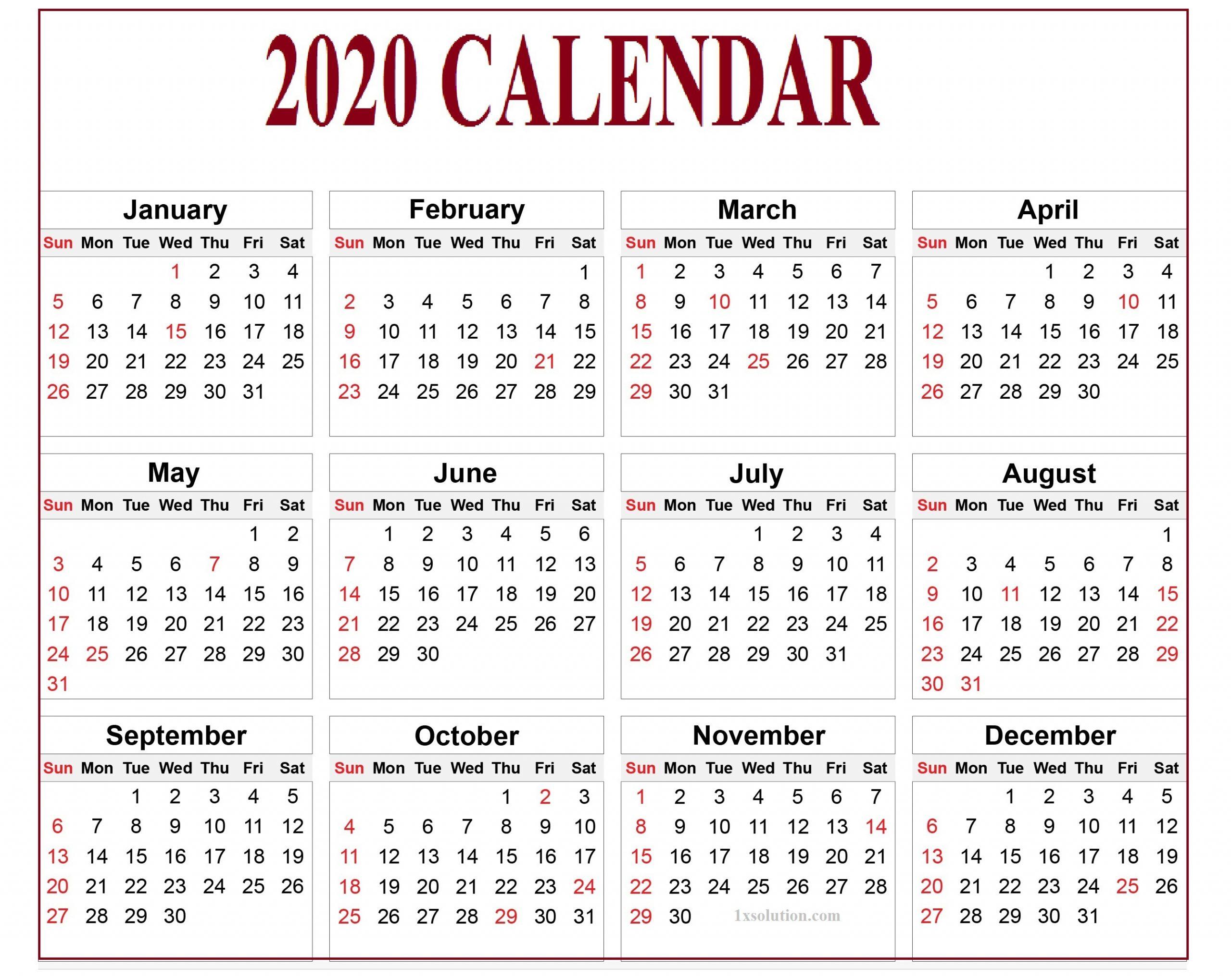 Calendar 2020 Pdf For Mark Your Daily Class |