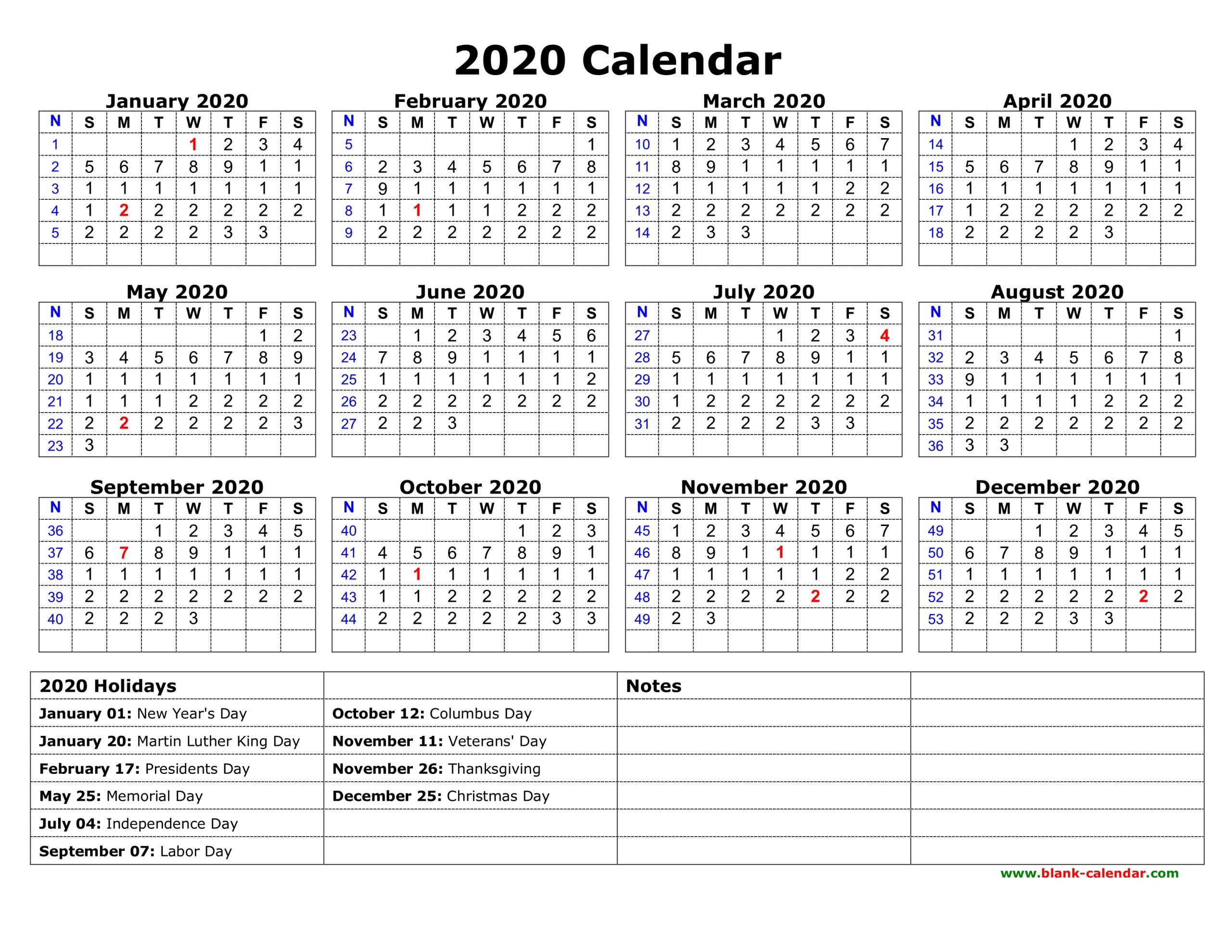 Calendar 2020 Printable With Holidays - Togo.wpart.co