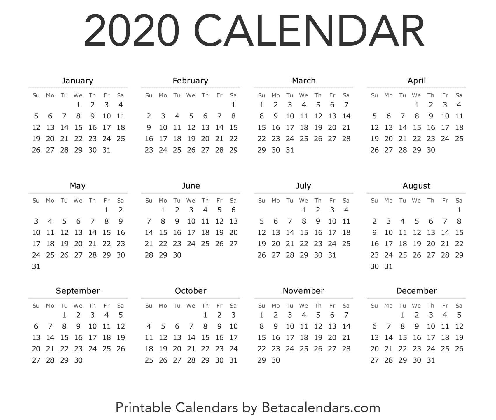 Calendar 2020 | Printable Yearly Calendar, Yearly Calendar