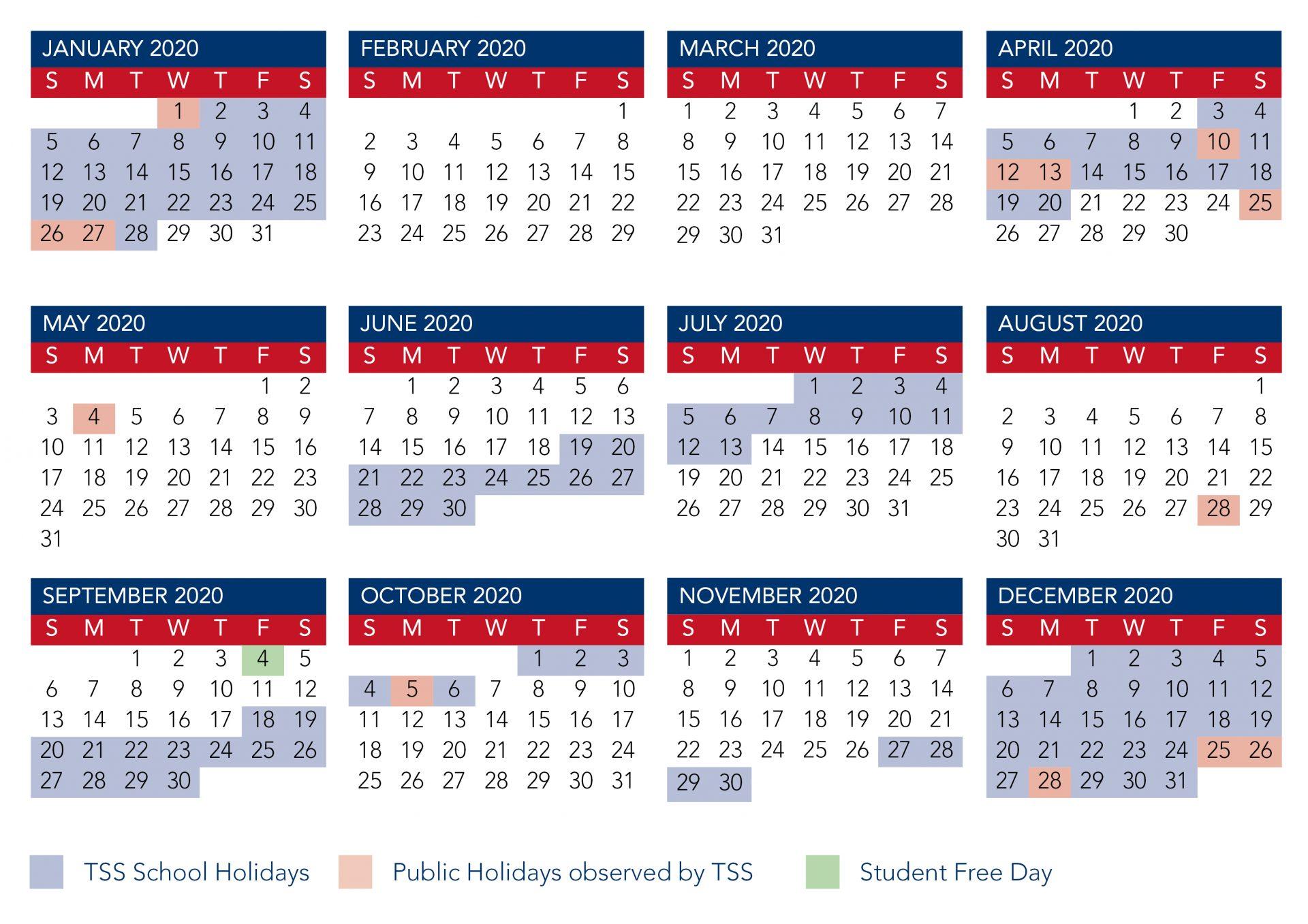 Calendar 2020 Qld School At Seimado