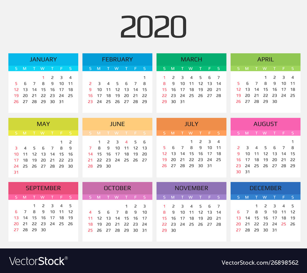 Calendar 2020 Template 12 Months Include Holiday