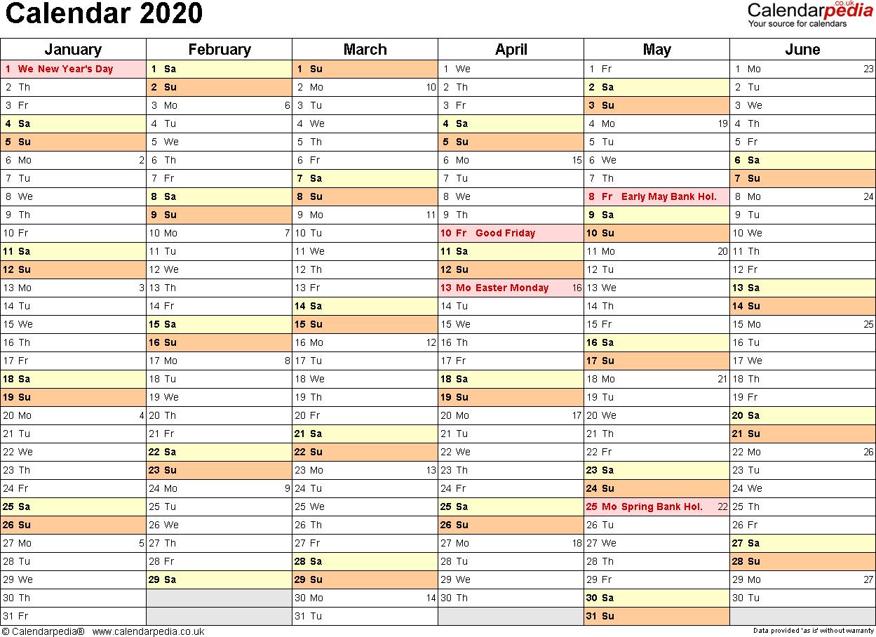 Calendar 2020 Template - Togo.wpart.co