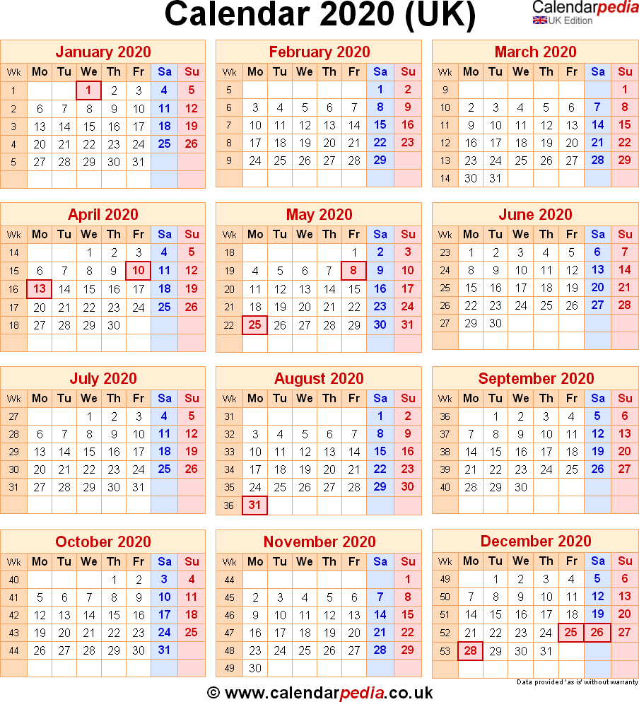Calendar 2020 Uk With Bank Holidays & Excel/pdf/word Templates