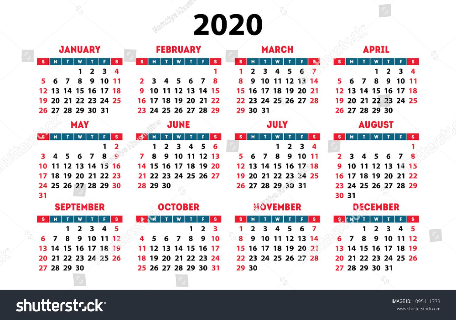 Calendar 2020 Vector Pocket Basic Grid. Simple Design