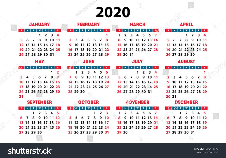 Calendar 2020 Vector Pocket Basic Grid. Simple Design
