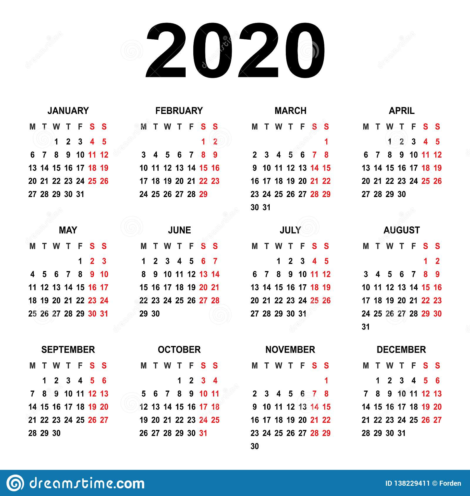 Calendar 2020. Week Starts On Monday. Basic Grid Stock