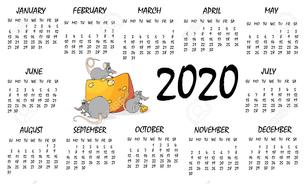 Calendar 2020 With Rat Chinese New Year Symbol. Vector Template,..