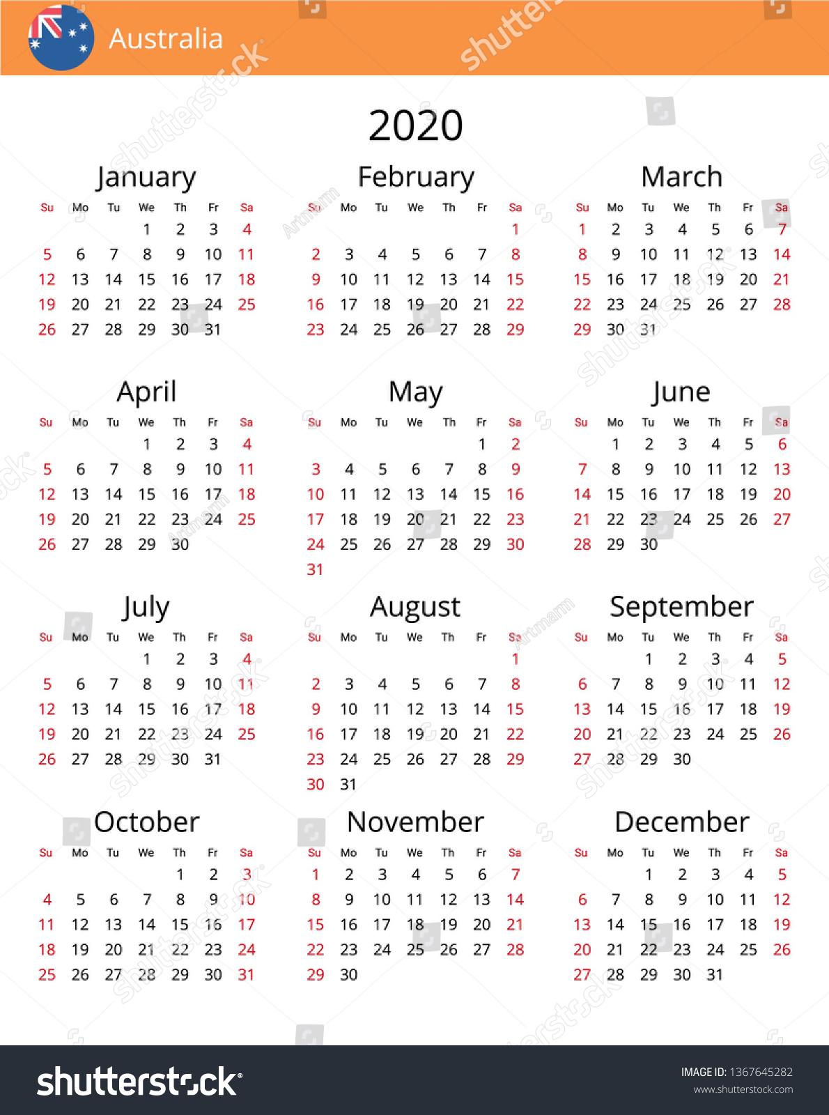 Calendar 2020 Year Australia Country English Stock Vector