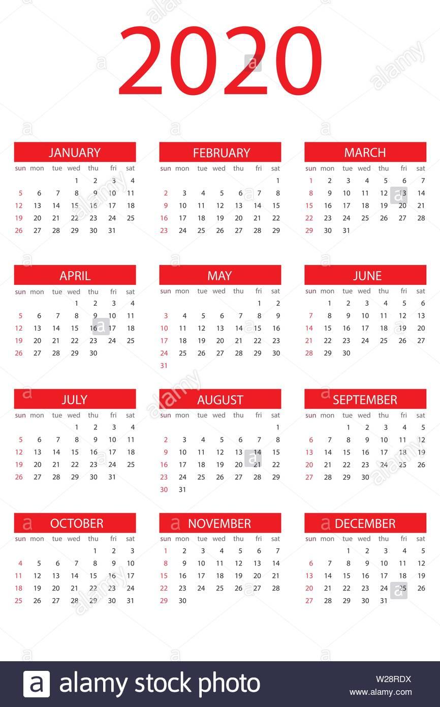 Calendar 2020 Year, Simple Design Template, Vertical Format