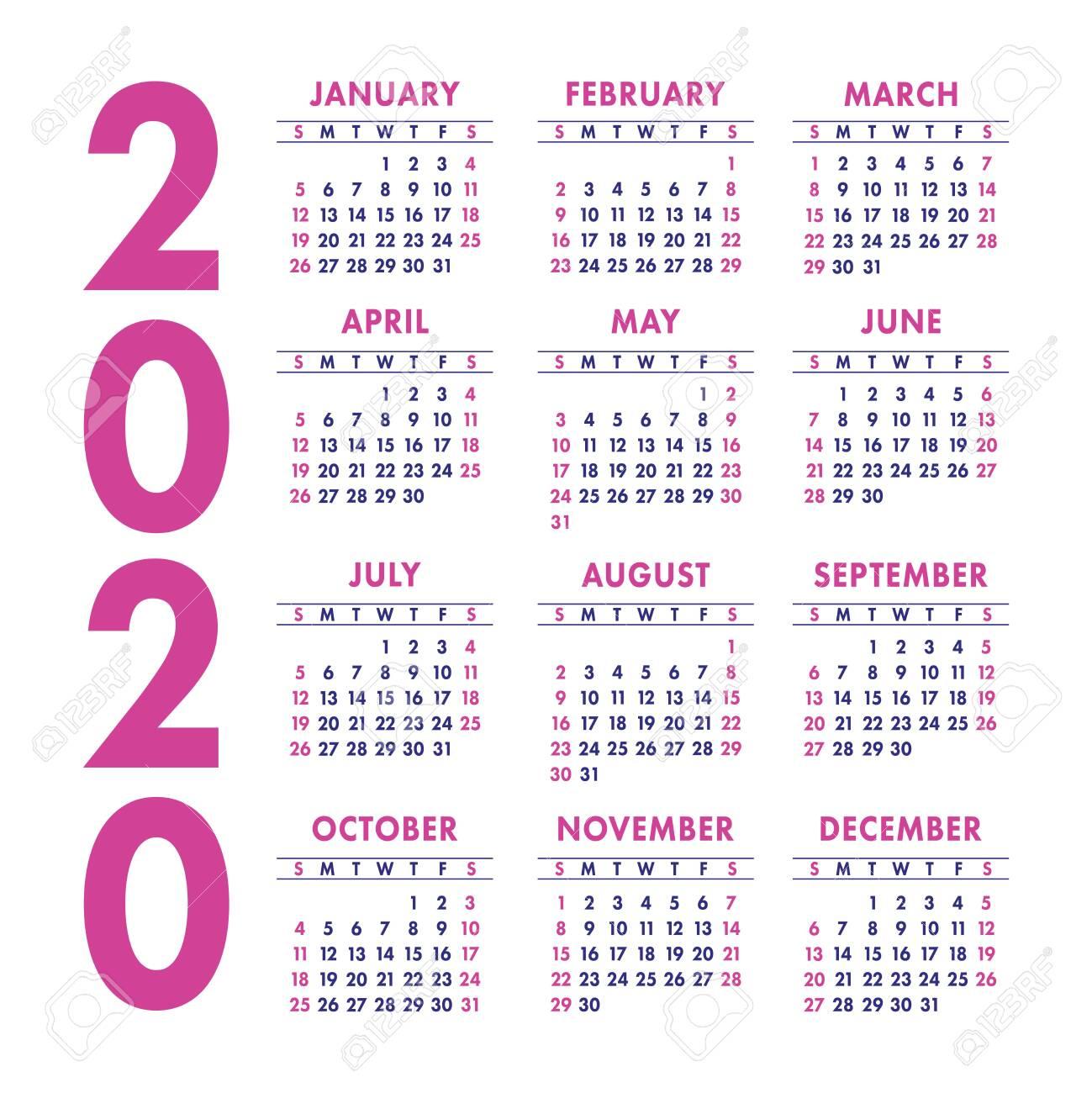 Calendar 2020 Year. Vector Design Template. Color English Square..