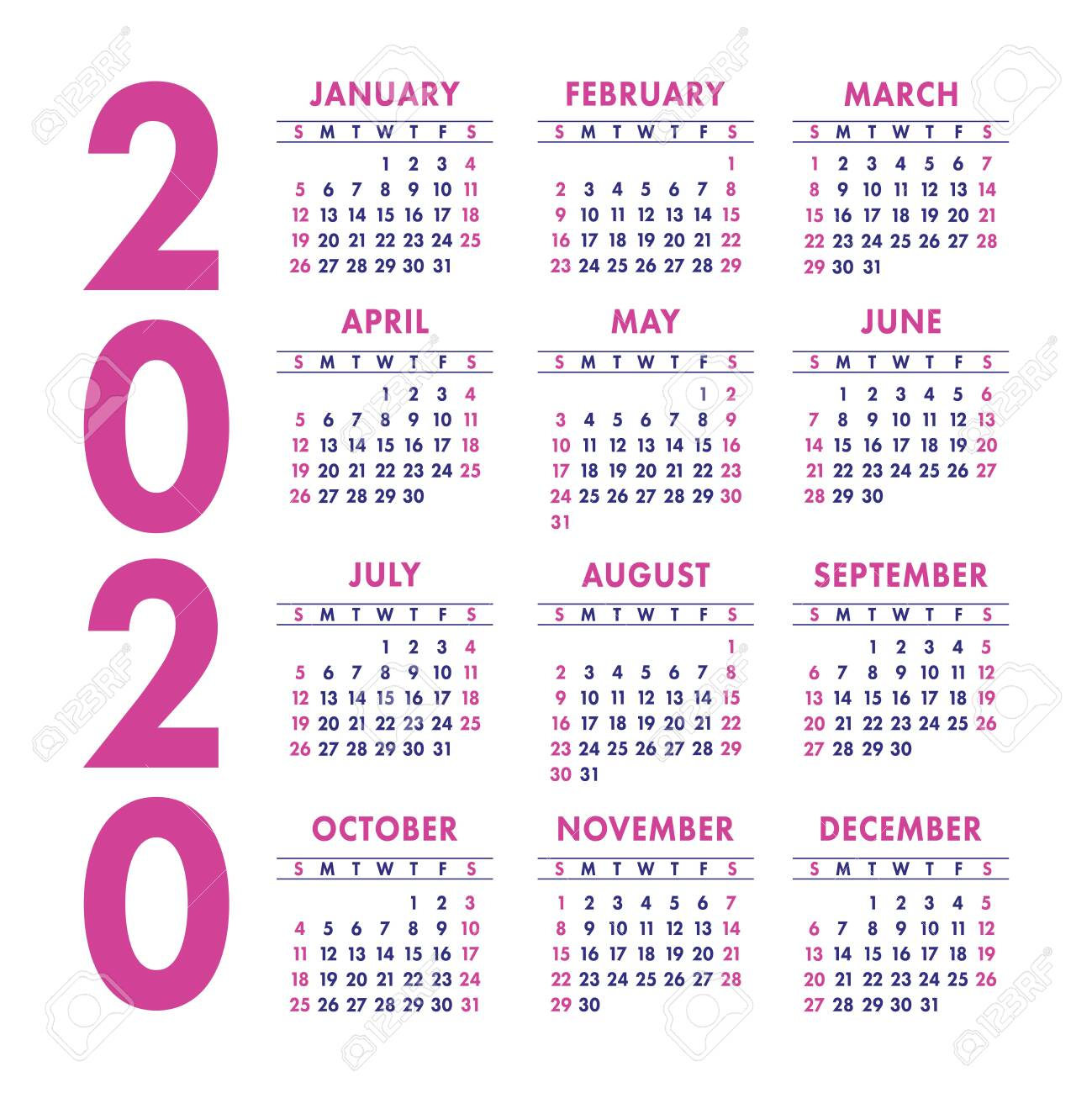 Calendar 2020 Year. Vector Design Template. Color English Square..