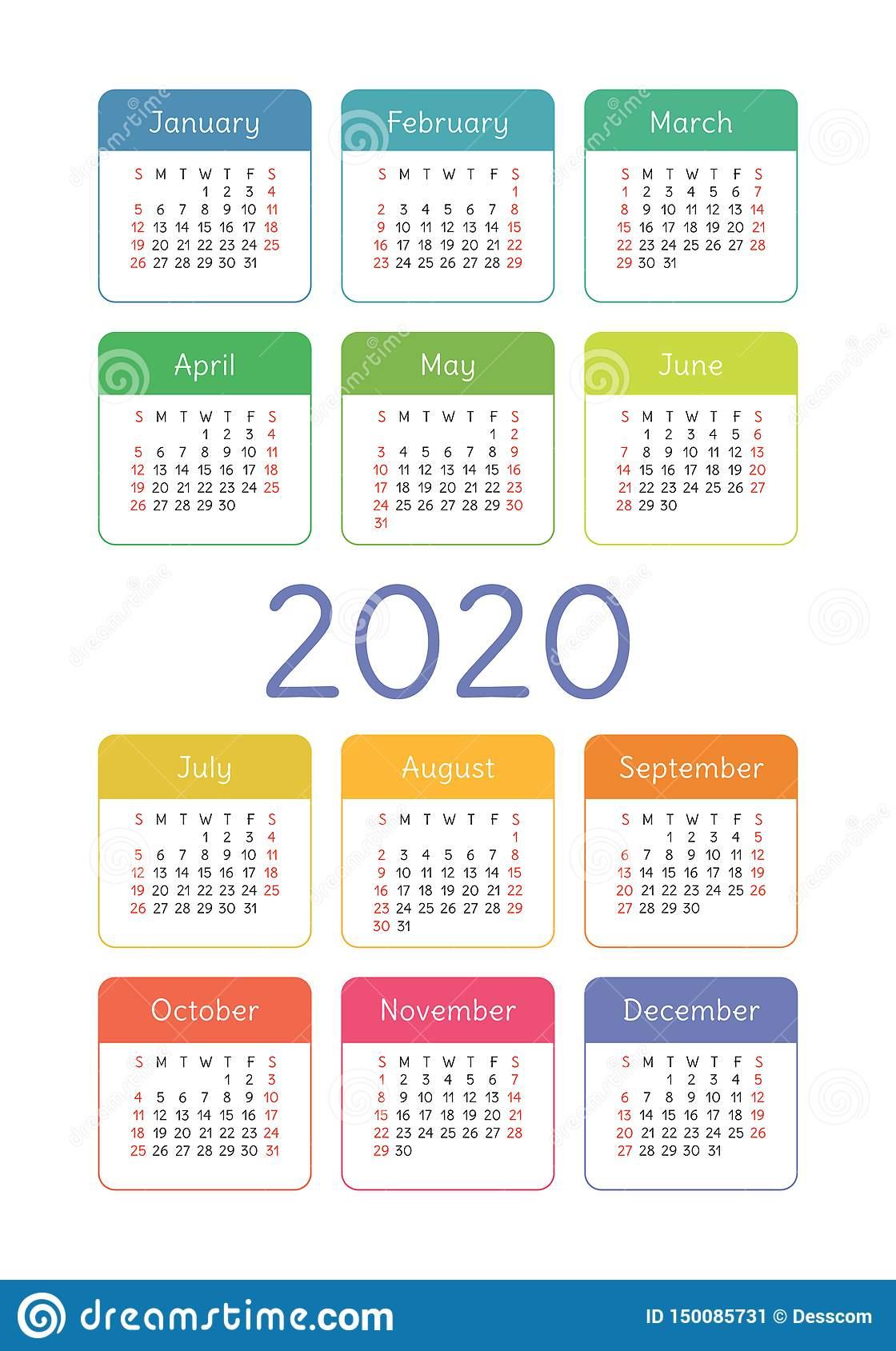 Calendar 2020 Year. Vector Design Template. Colorful English