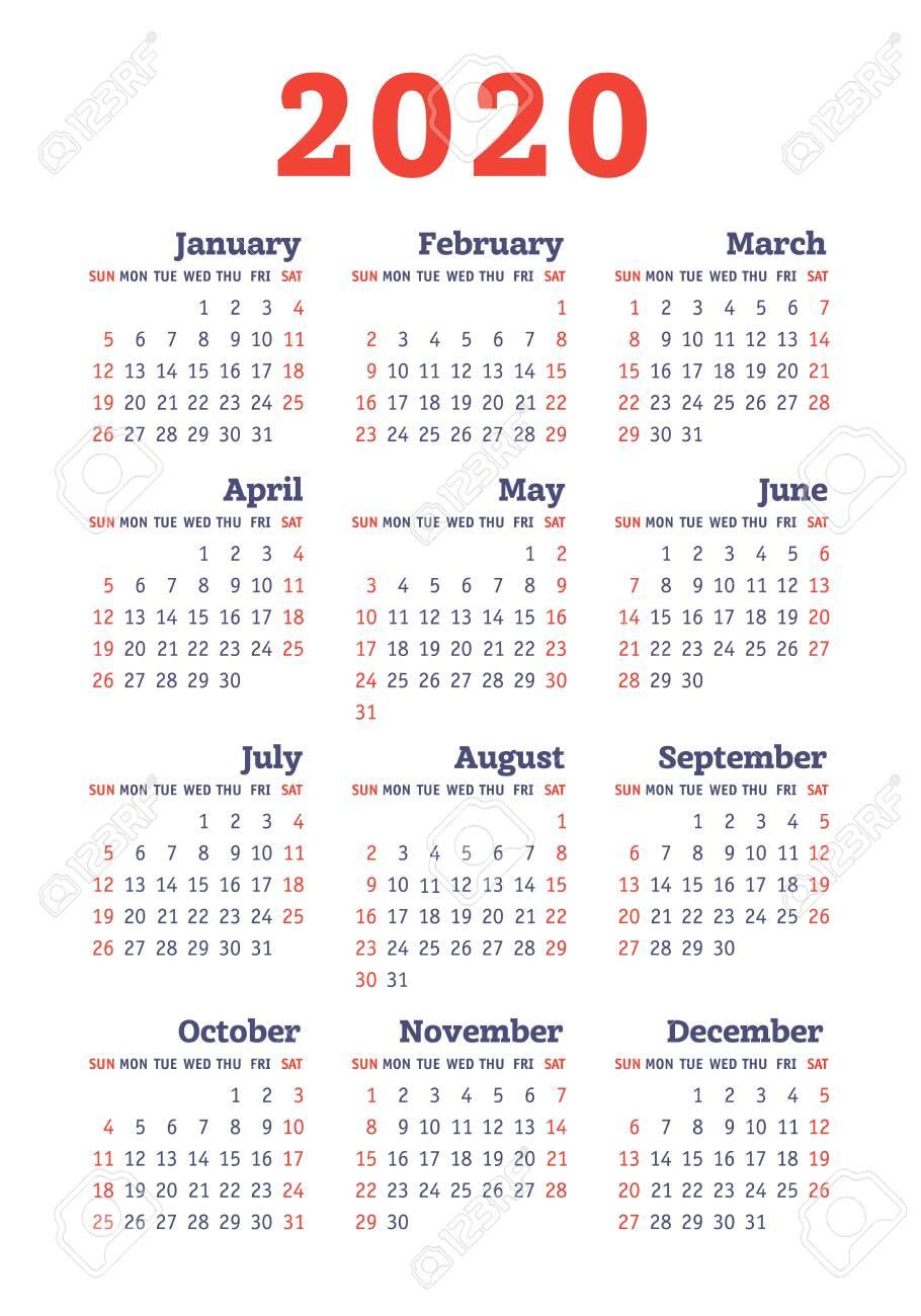 Calendar 2020 Year. Vector Design Template. English Vertical..