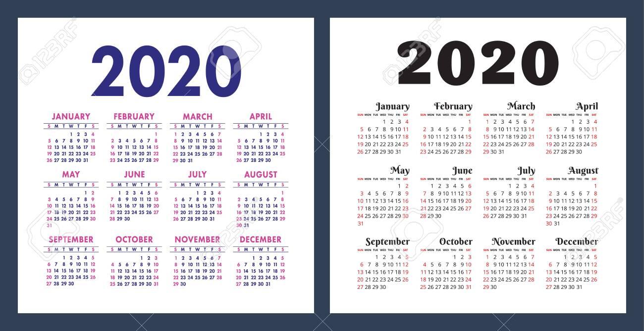 Calendar 2020 Year. Vector Design Template Set. Pocket Calender