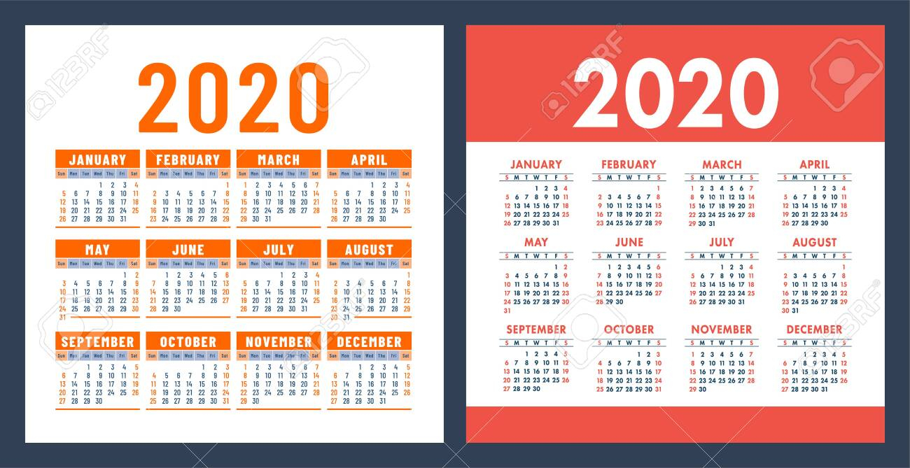 Calendar 2020 Year. Vector Design Template Set. Pocket Calender