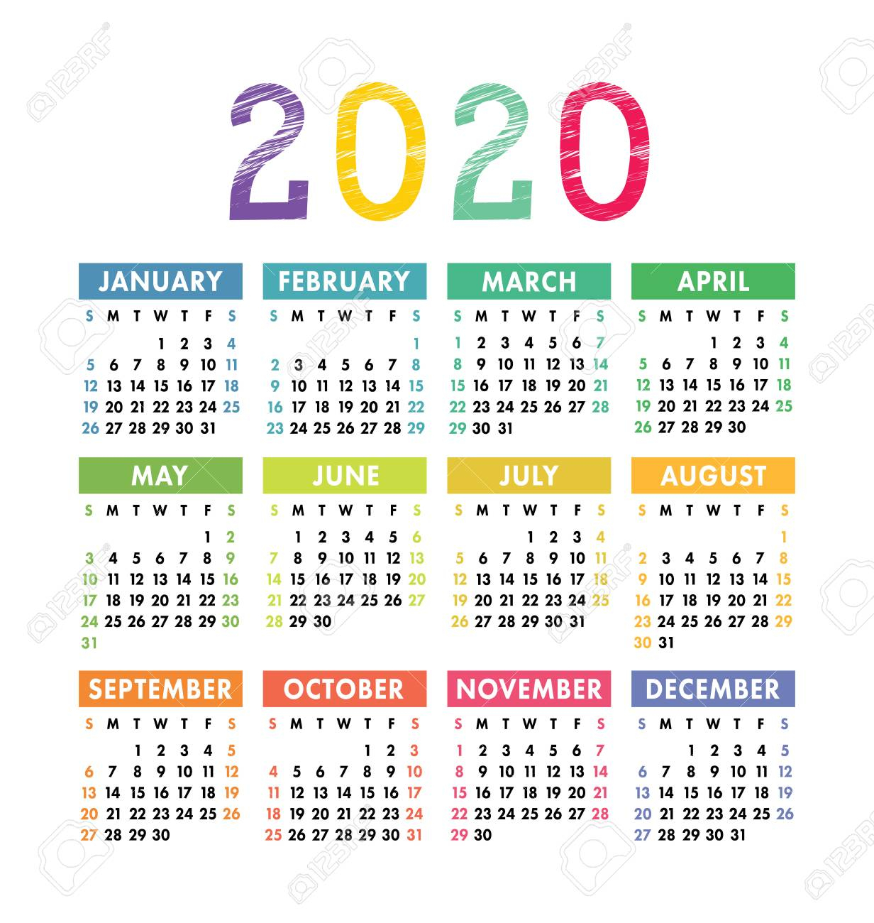 Calendar 2020 Year. Vector Pocket Or Wall Calender Template