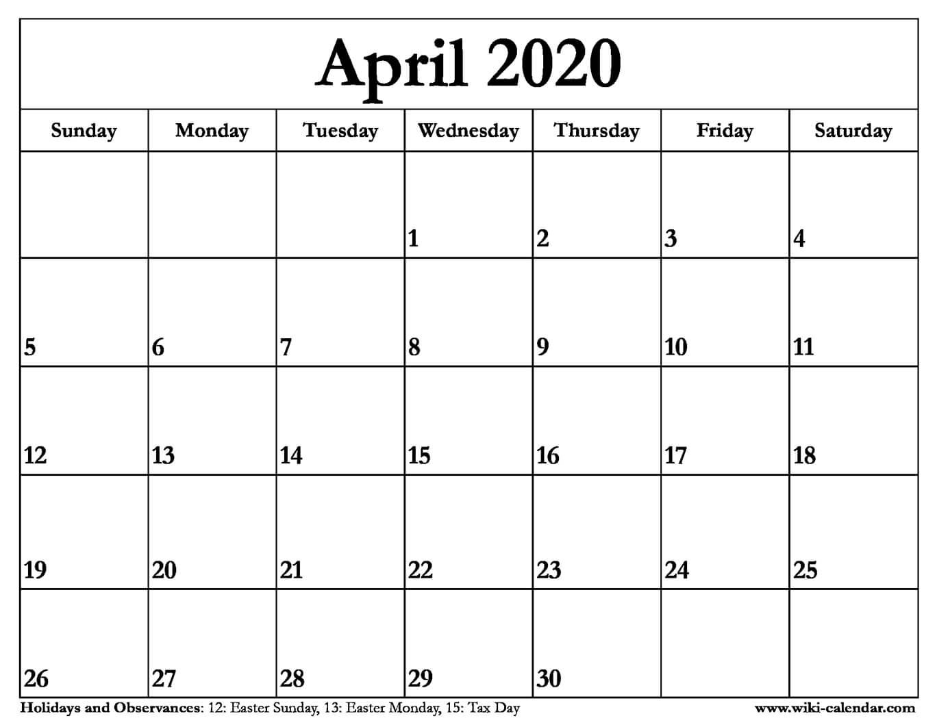 Calendar April - Togo.wpart.co