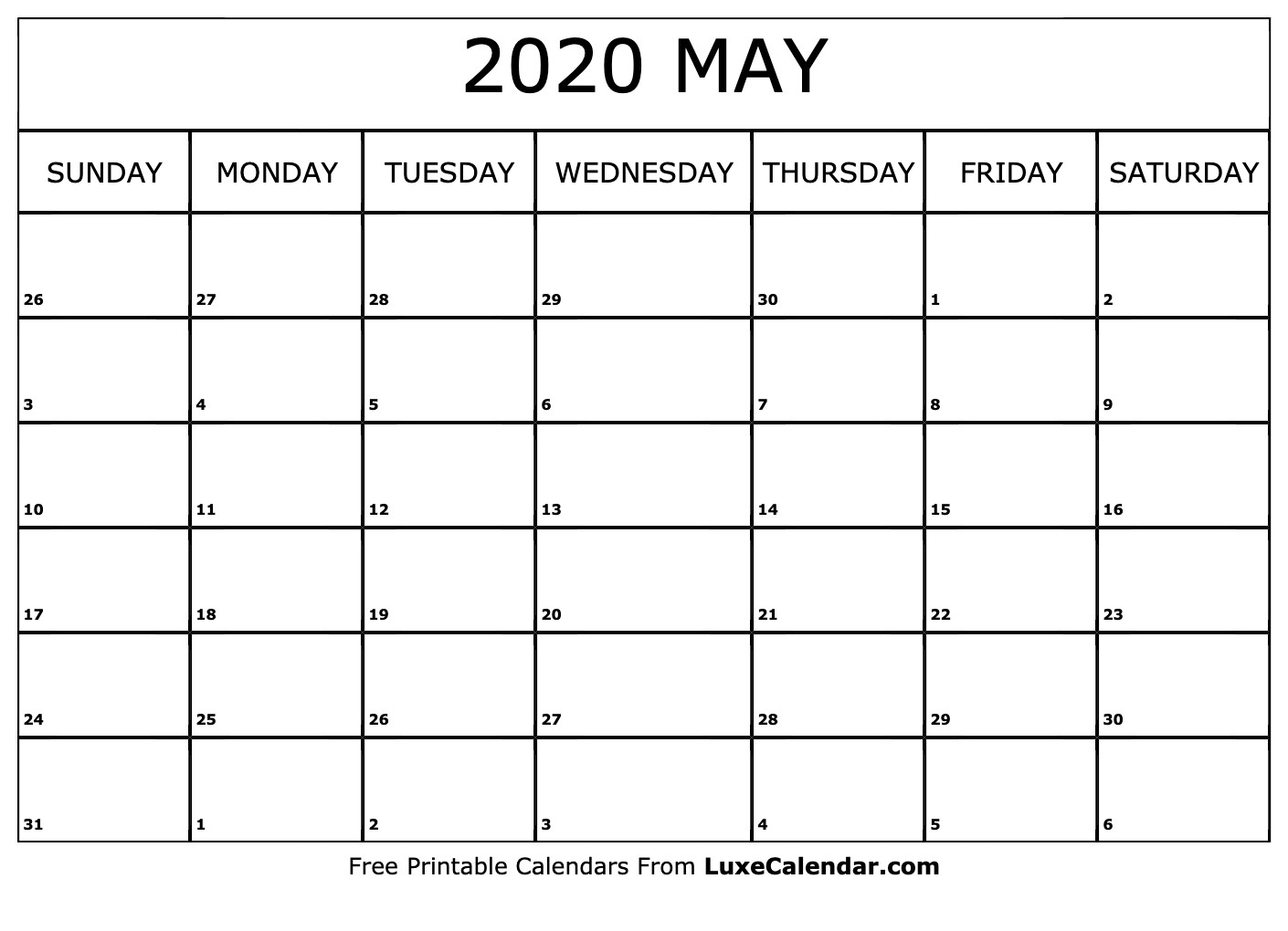 Calendar Blank 2020 May | Calendar Template Information