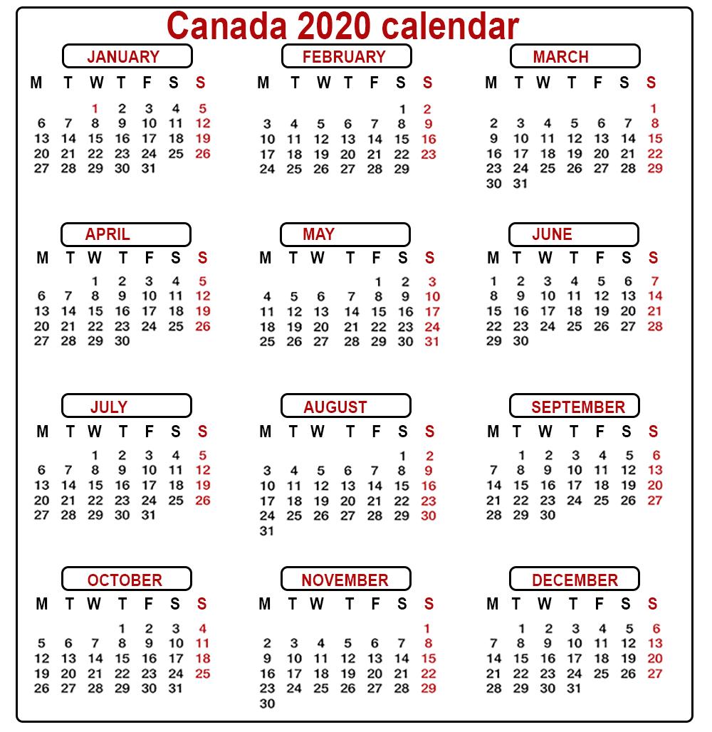 Calendar Canada 2020 - Togo.wpart.co