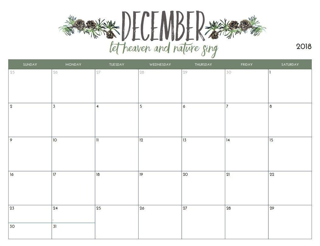 Calendar December 2018 Printable | Nasionalis-Pretty