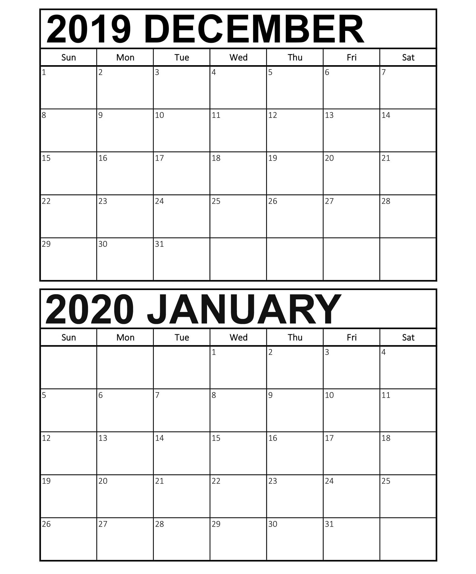 Calendar December 2019 January 2020 Template - 2019