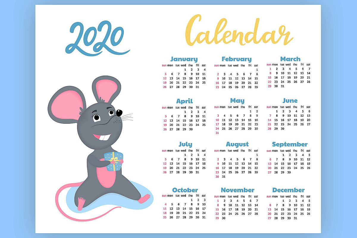 Calendar For 2020 From Sunday To Saturday. Year Of The Rat