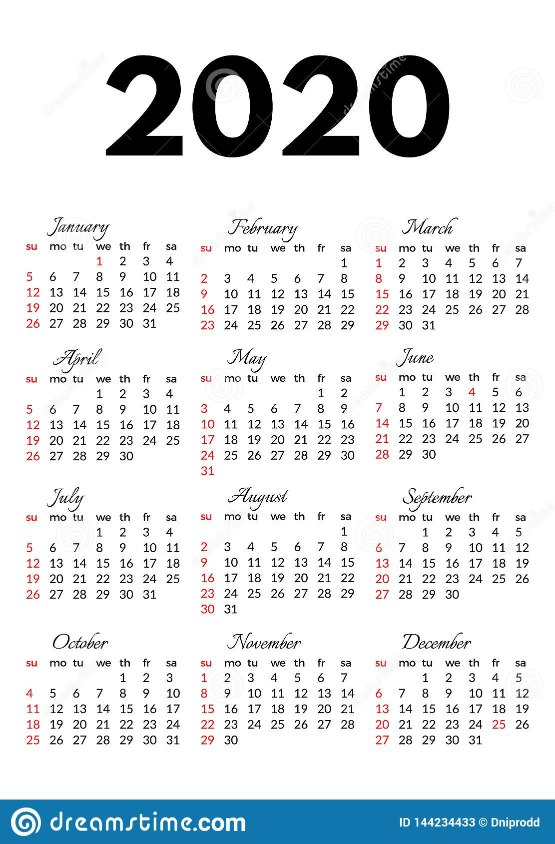 Calendar For 2020 Isolated On A White Background Stock