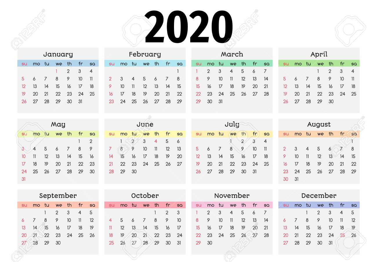 Calendar For 2020 Isolated On A White Background. Sunday To Monday,..