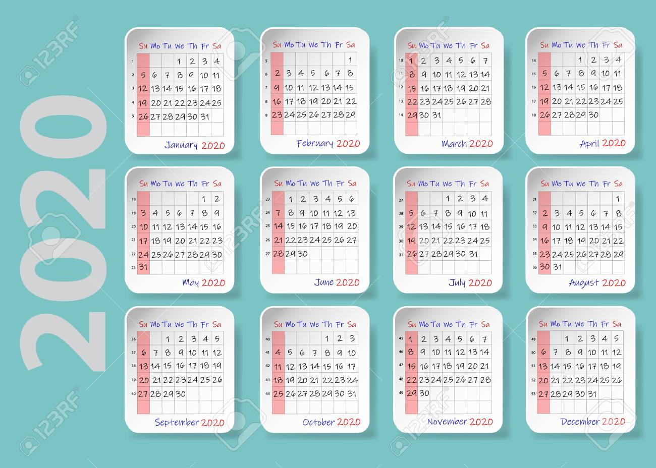 Calendar For 2020. Twelve Sheets With The Shadows Are Containing..