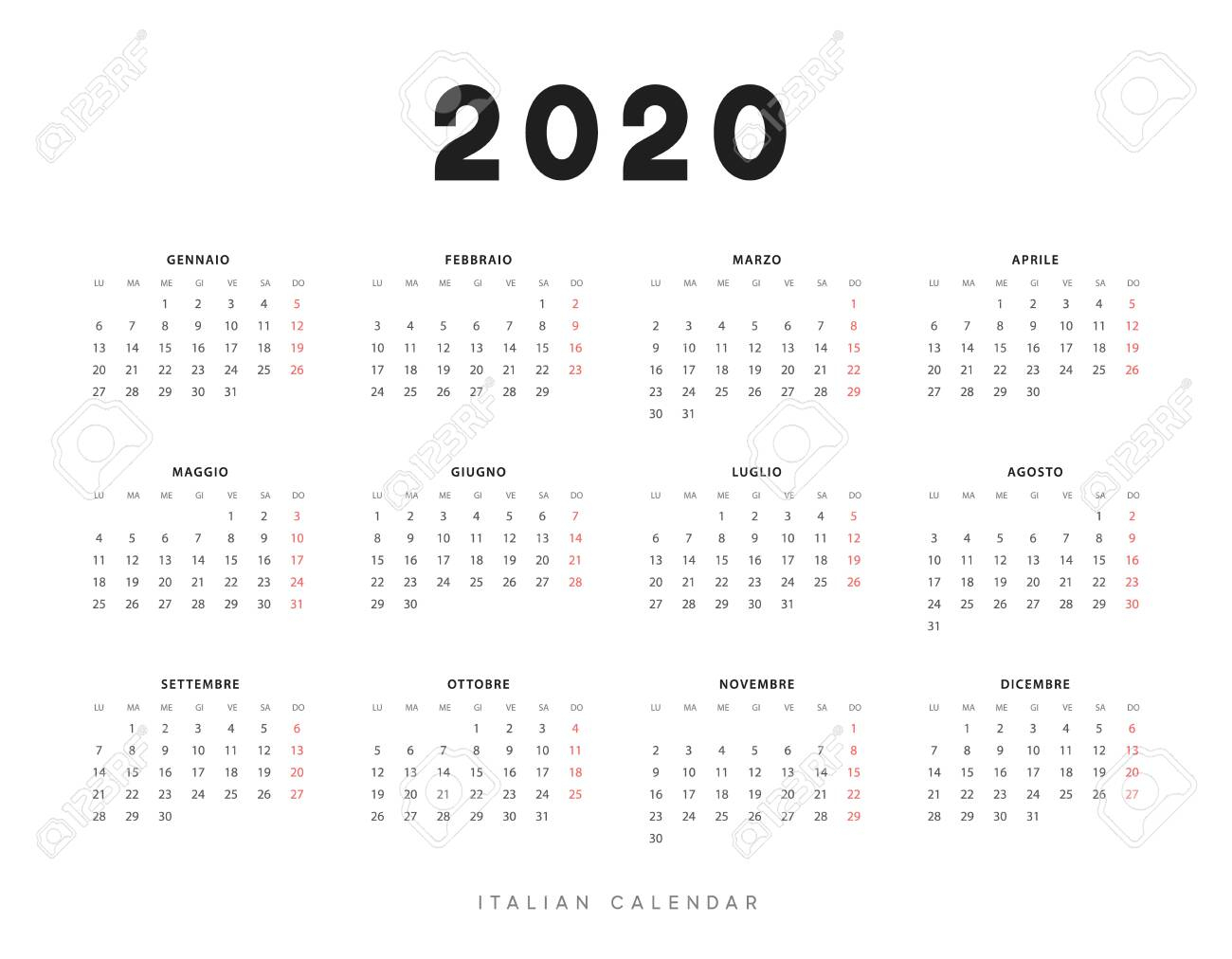 Calendar For 2020 Year. Week Starts On Monday. Planner For 12..