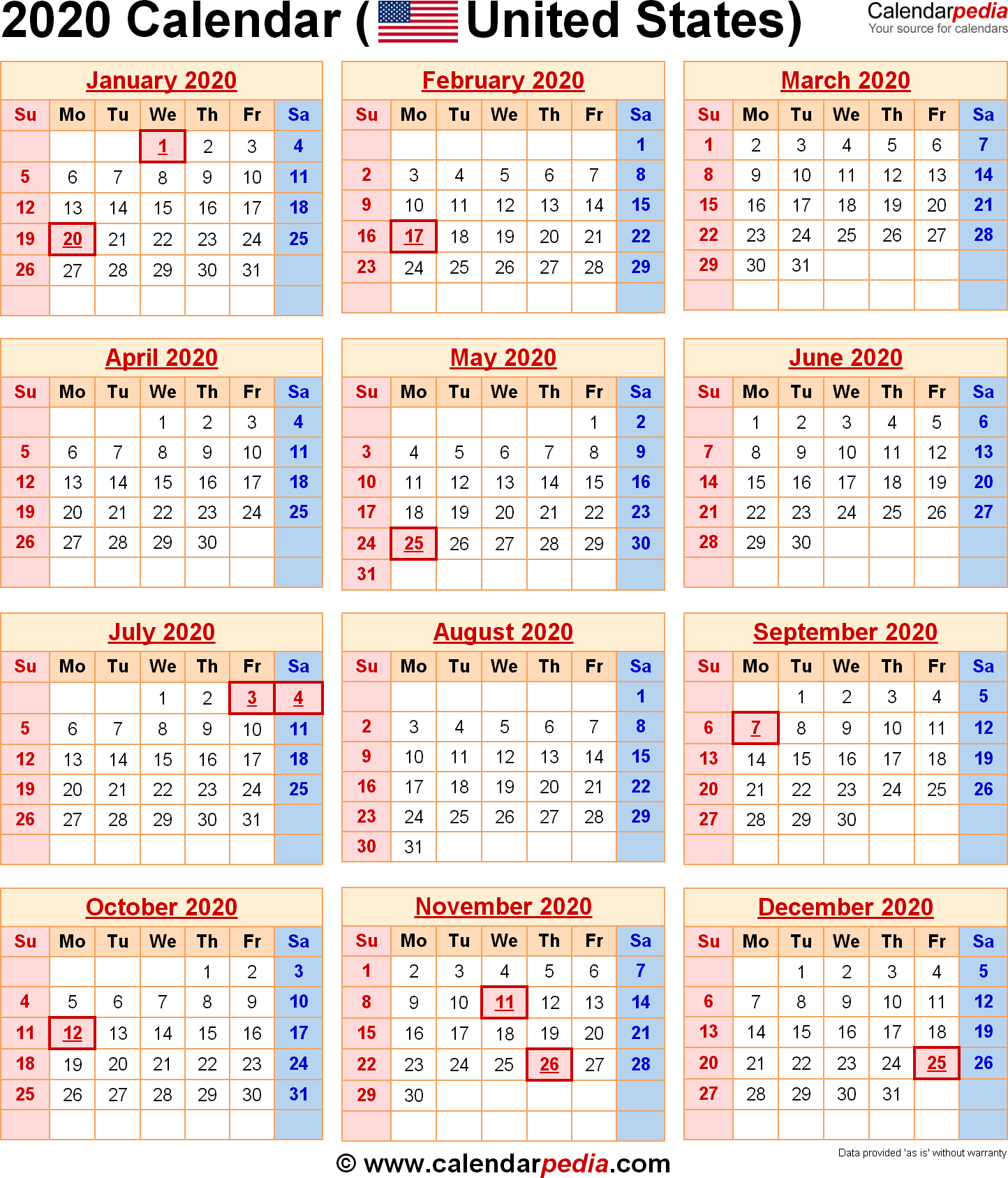 Calendar For Year 2020 United States - Togo.wpart.co