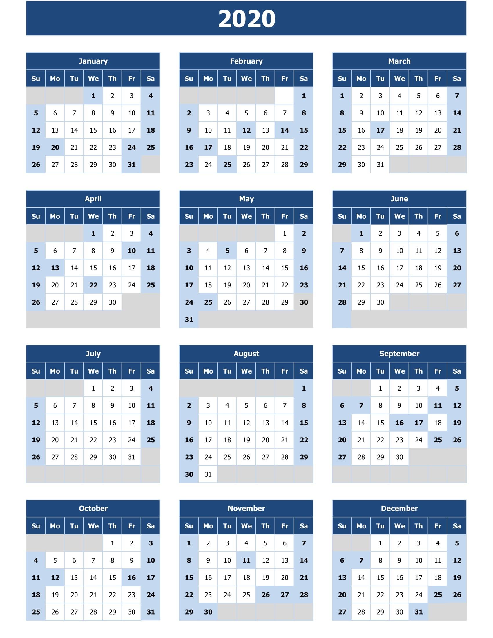 Calendar In Excel 2020 - Togo.wpart.co
