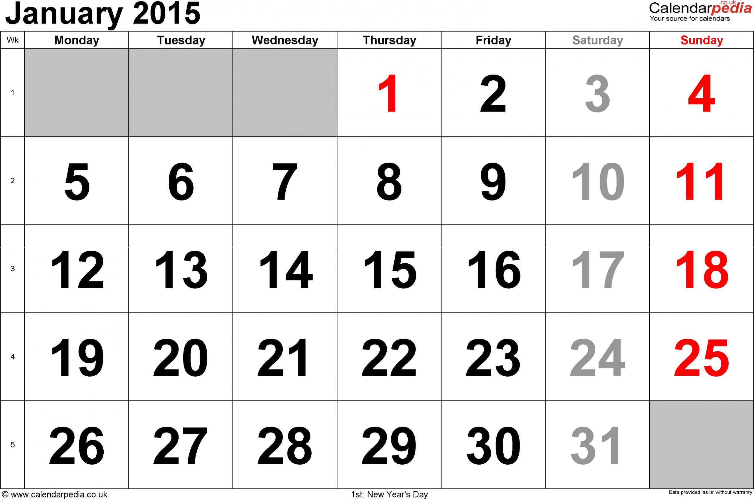 Calendar January 2015, Landscape Orientation, Large Numerals