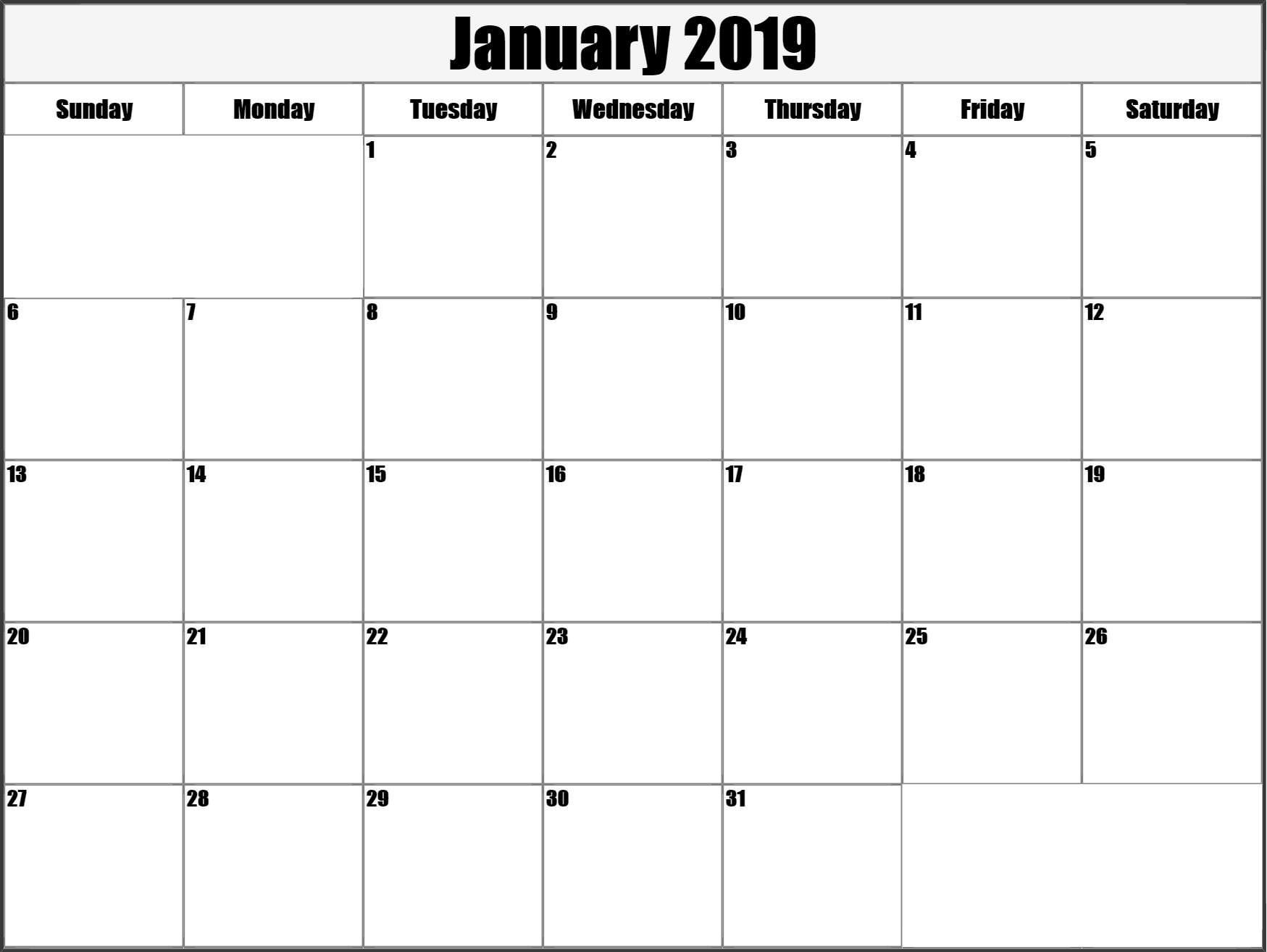 Calendar January 2019 Printable Large | Printable Blank