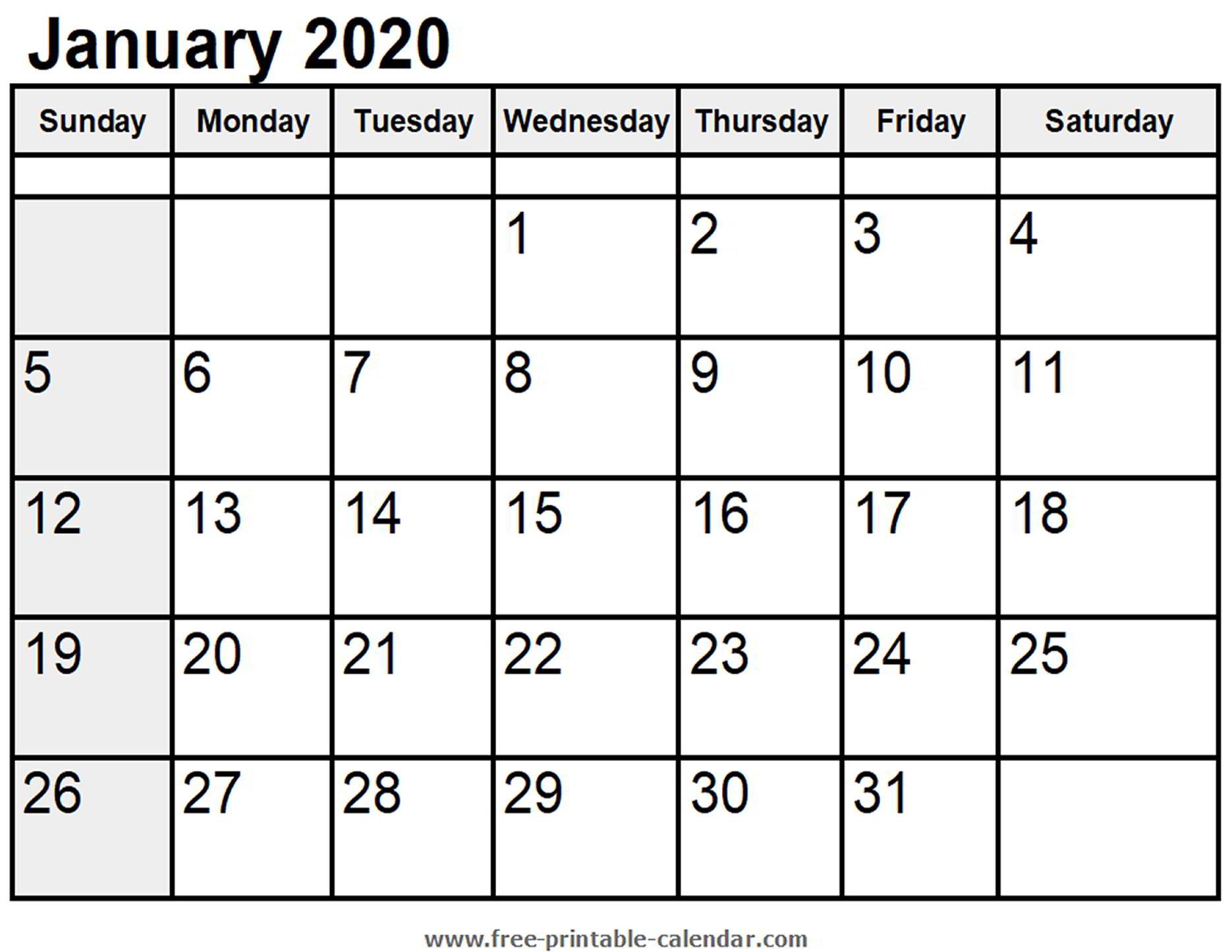 Calendar January 2020 - Free-Printable-Calendar