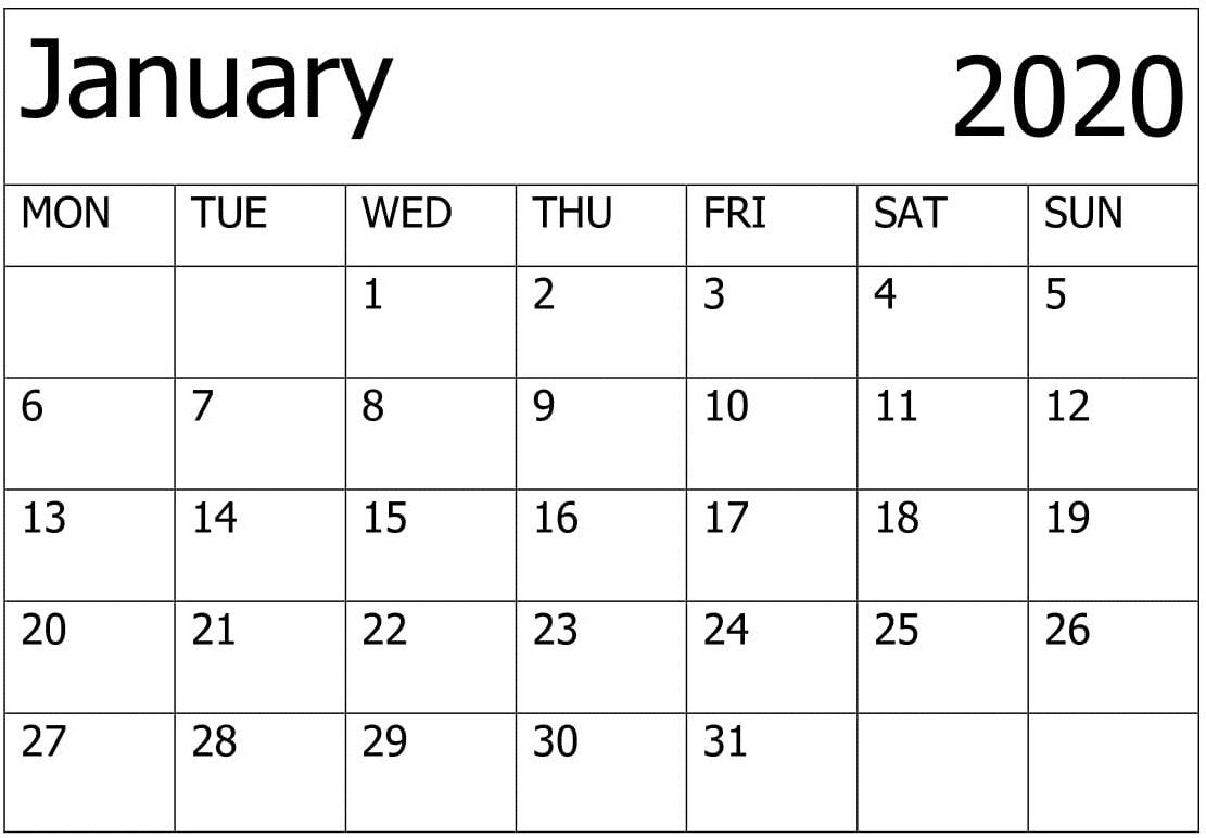 Calendar January 2020 Printable – For Classroom Management