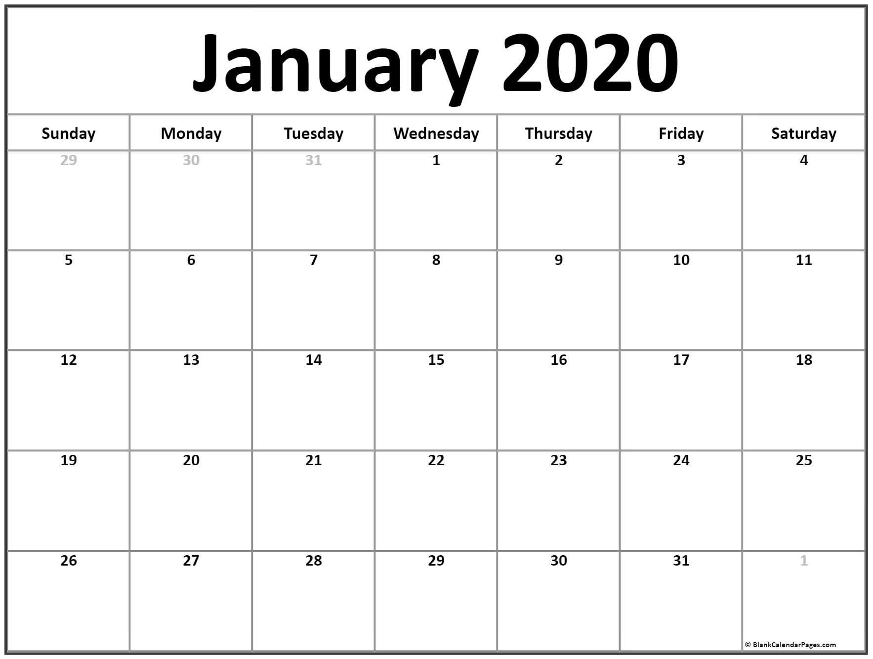 Calendar January 2020 Template - Togo.wpart.co