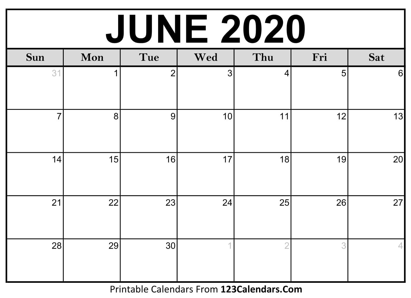 Calendar Month June 2020 - Togo.wpart.co