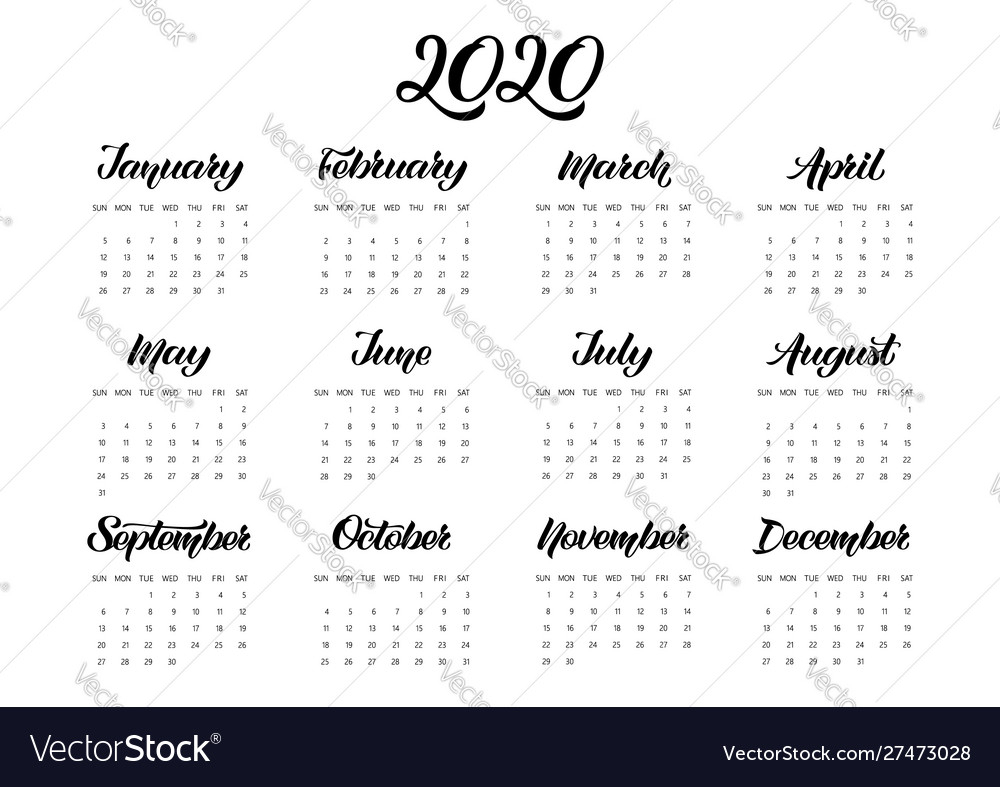 Calendar Planner For 2020 Year With