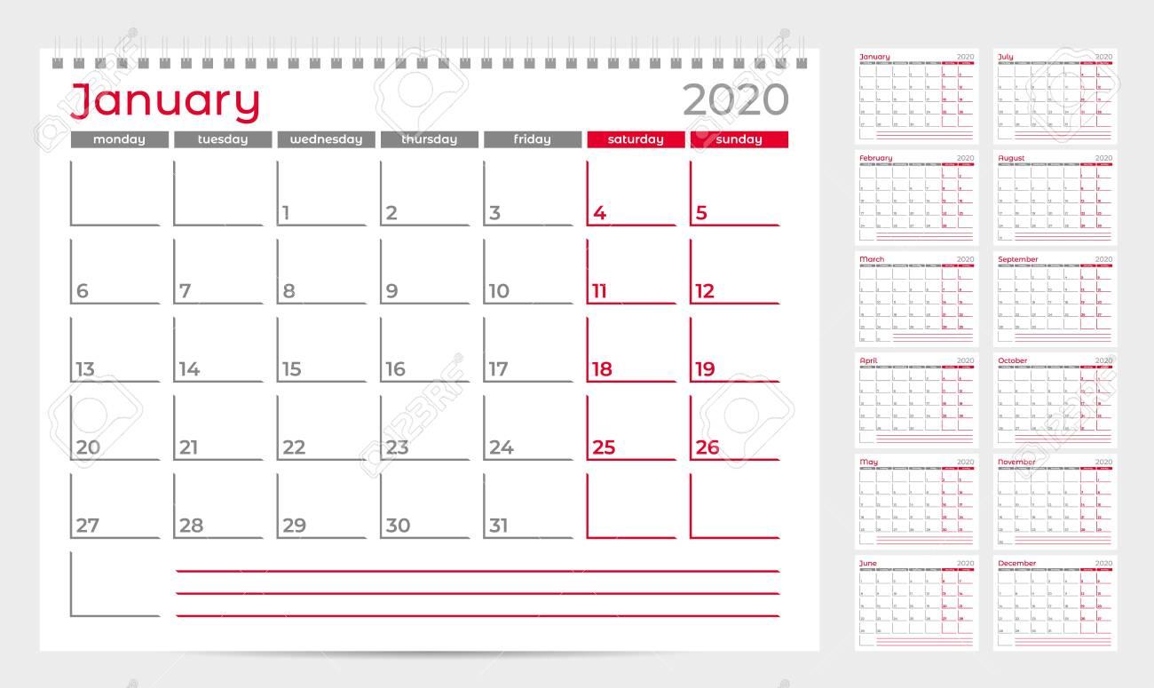 Calendar Planner Template 2020. Week Start From Monday. Set Of..