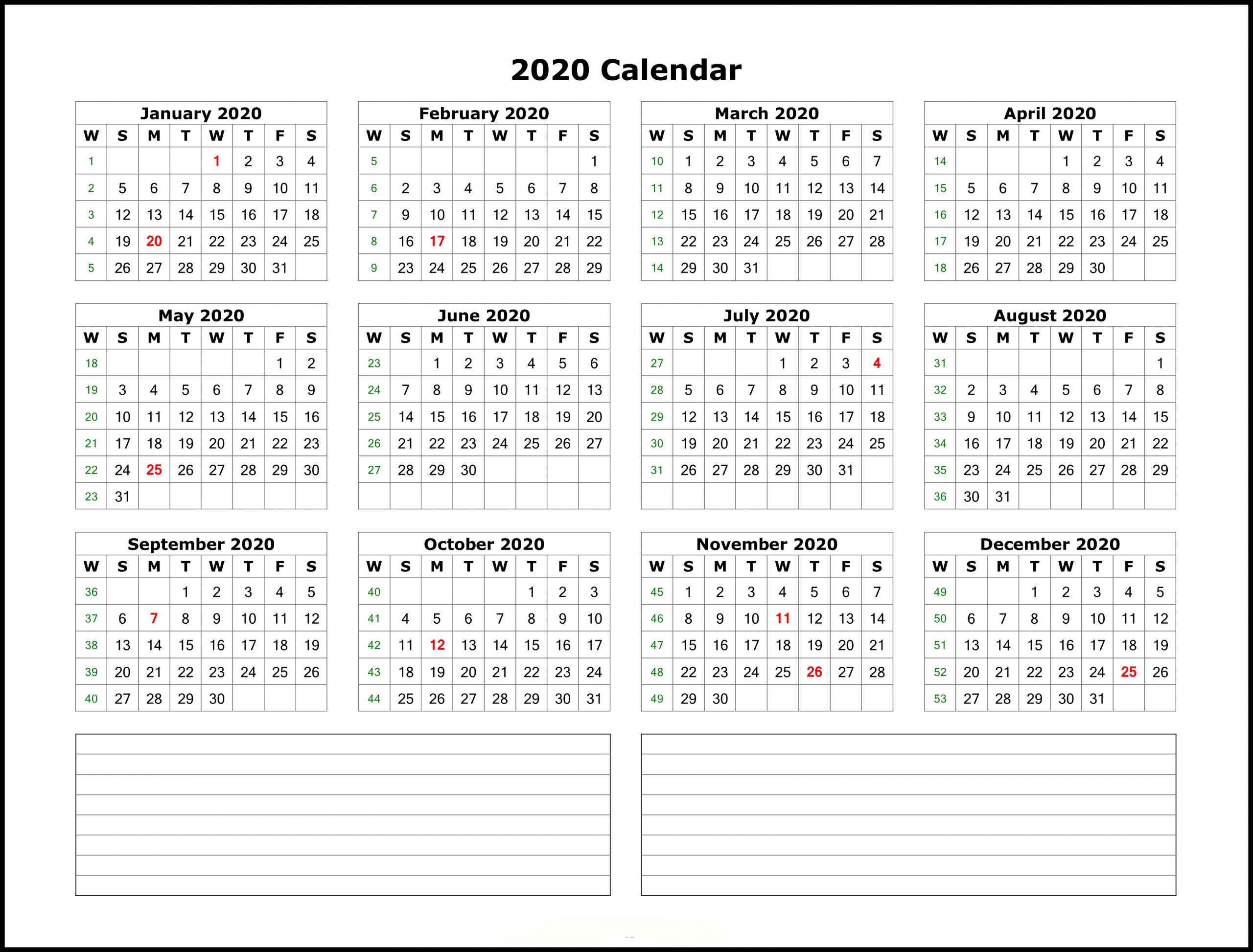 Calendar Template 2020 Excel - Togo.wpart.co