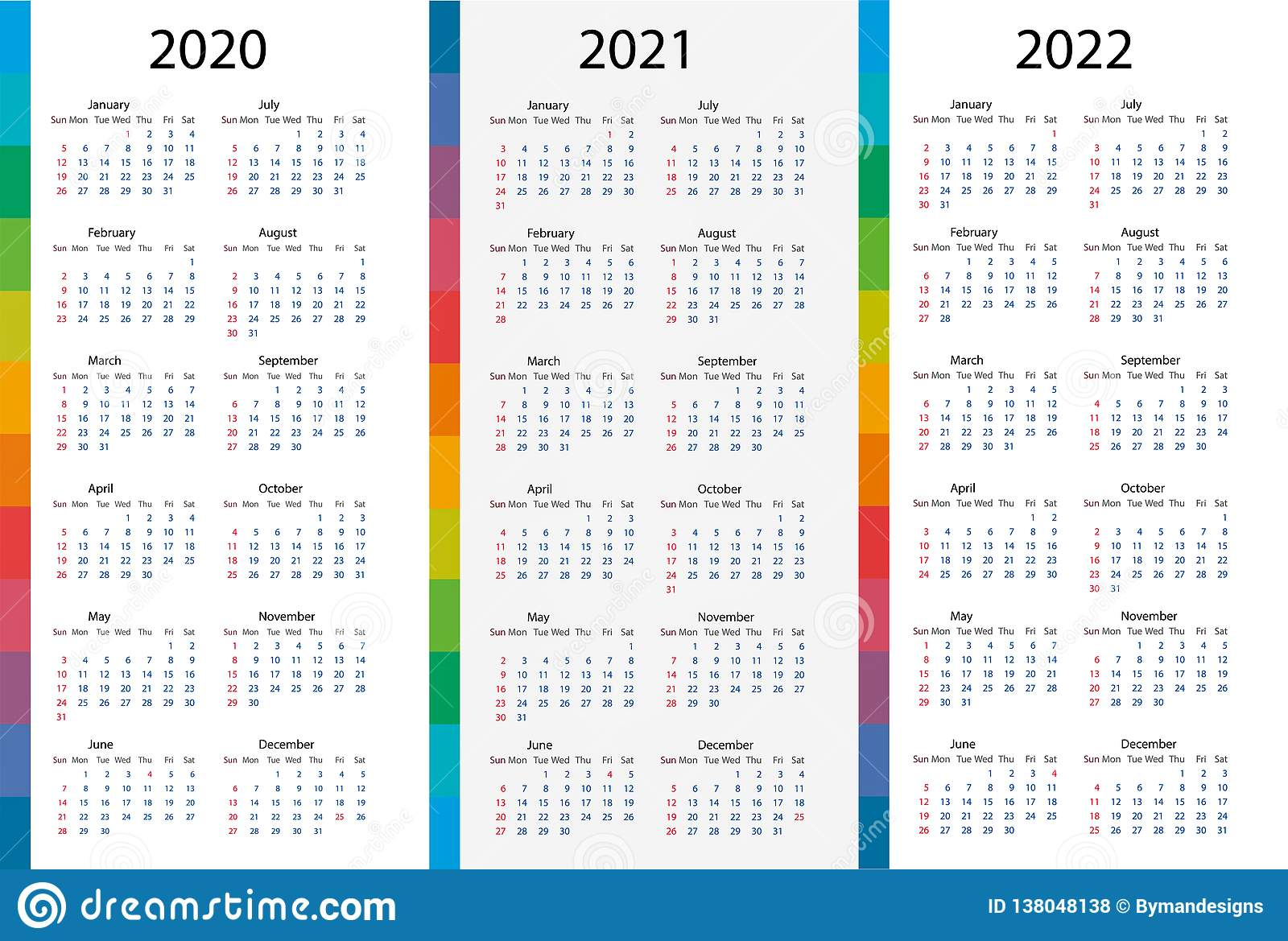 Calendar Template Set For 2020, 2021, 2022 Years Stock