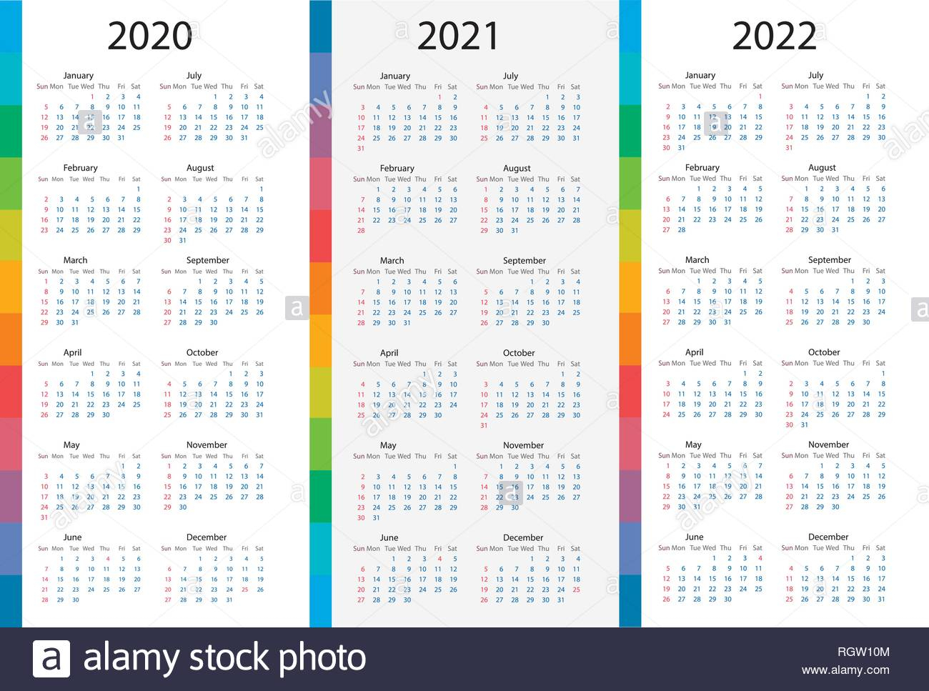Calendar Template Set For 2020, 2021, 2022 Years. Week