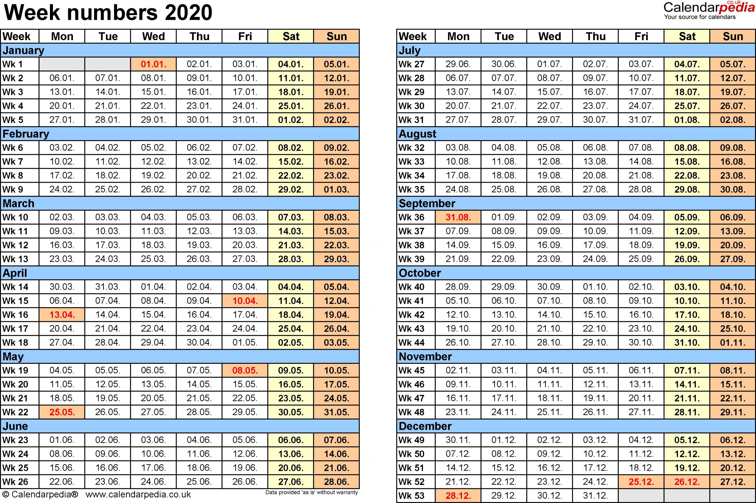 Calendar Week Counter 2020 | Month Calendar Printable