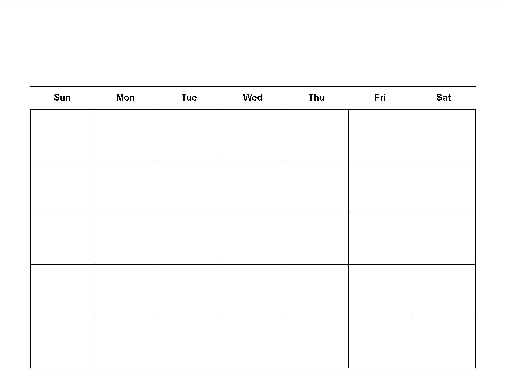 Calendar With Blank Squares | Calendar Template Information