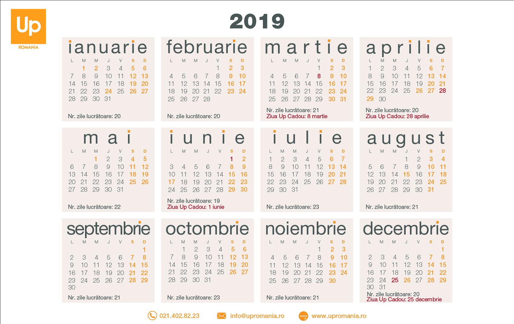 Calendar Zile Lucratoare 2019 | Up Romania