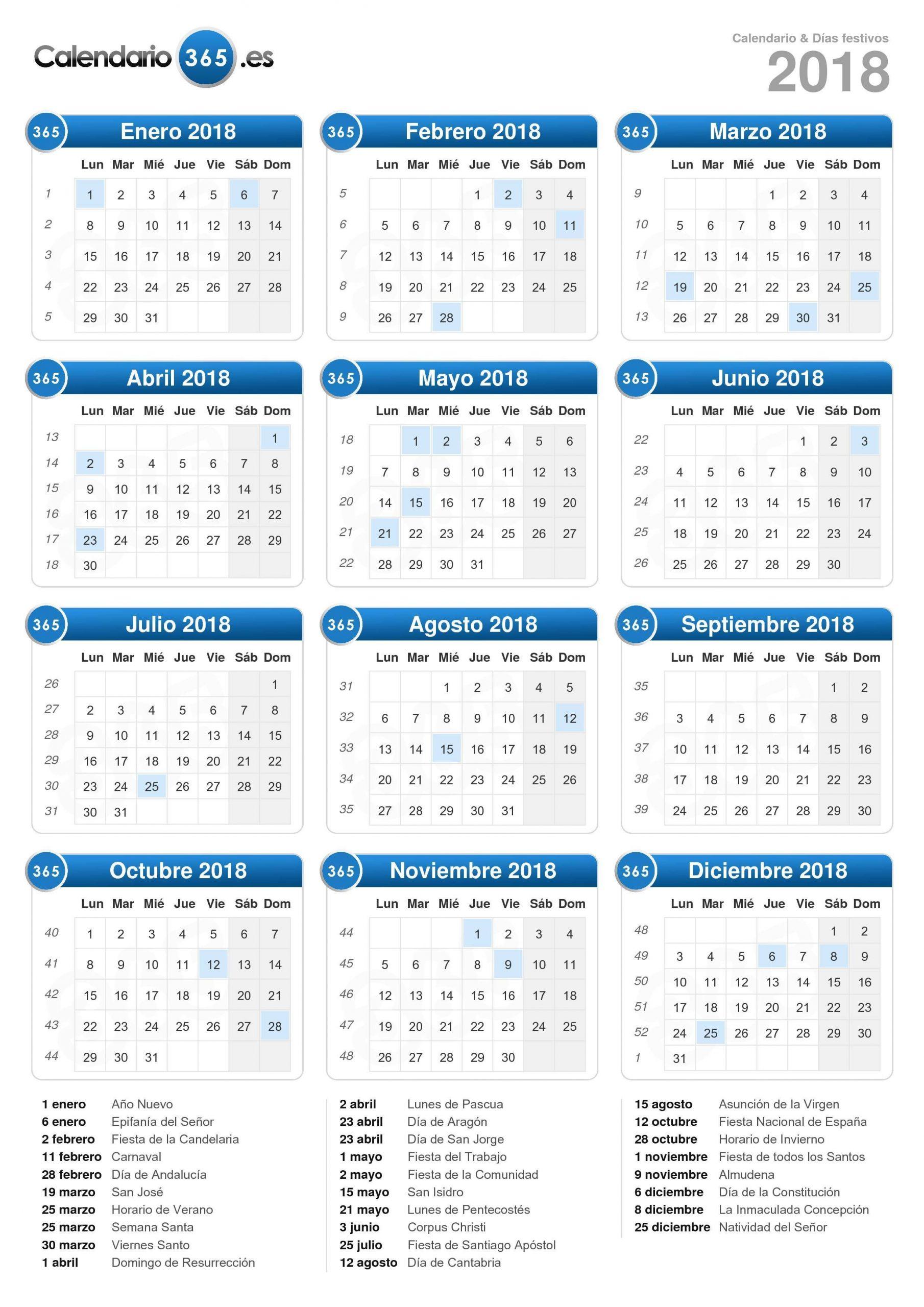 Calendario 2018 (Formato Vertical) | Calendario 2018